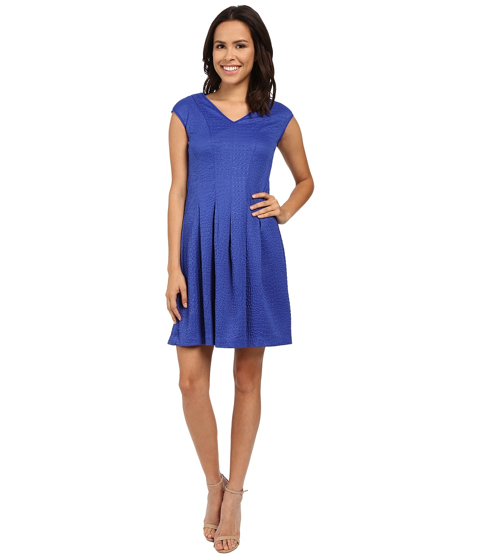 Christin Michaels Gloria Cap Sleeve V-Neck Pleated Dress (Royal) Women