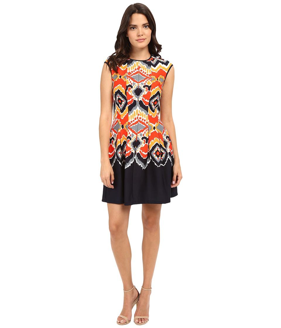 Christin Michaels - Edith Cap Sleeve Pleated Dress (Tan/Red/Navy) Women's Dress