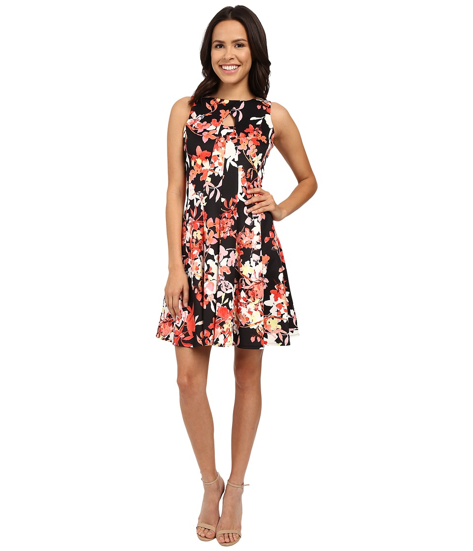 Christin Michaels Felicia Sleeveless Pleated Dress (Black/Pink) Women