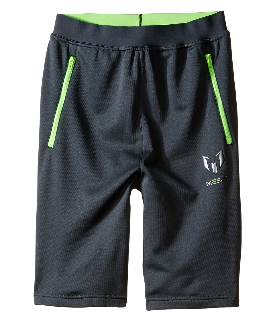 adidas Kids - Messi Knit Bermuda Shorts (Little Kids/Big Kids) (Dark Grey/Solar Green) Kid's Shorts