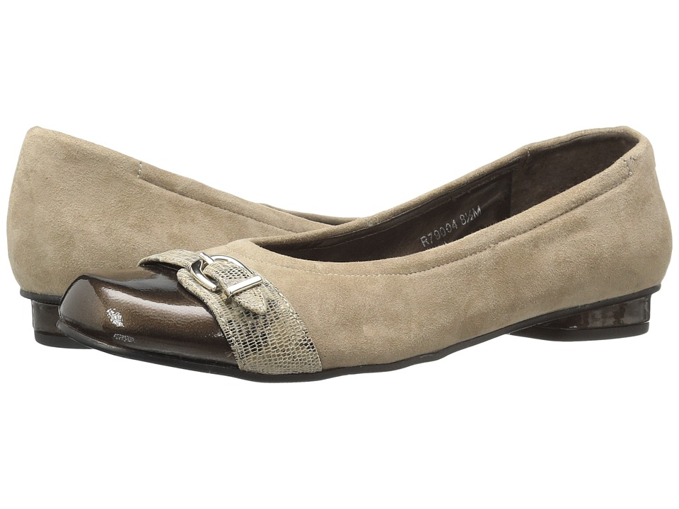 Walking Cradles Mulberry (Taupe Suede/Bronze Patent/Taupe/Gold Lizard) Women