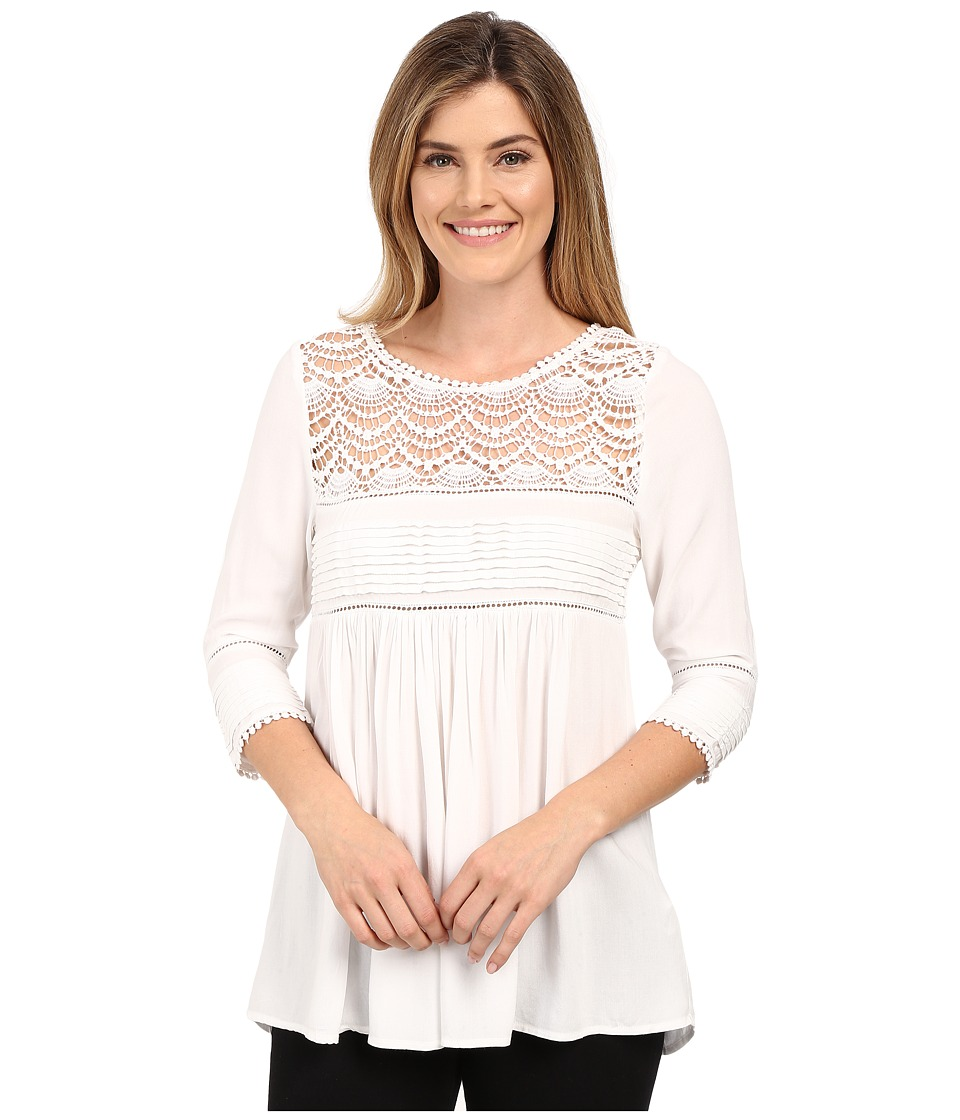 Karen Kane - Crochet Trim Top (Off-White) Women's Clothing