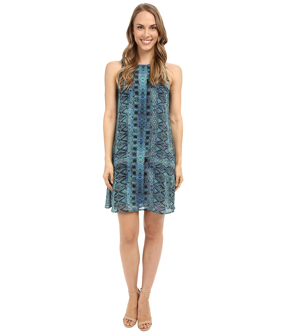 Karen Kane - Sheer Diamond Tile Dress (Print) Women's Dress