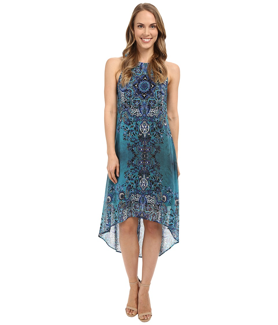 Karen Kane - Sheer Print High-Low Hem Dress (Print) Women