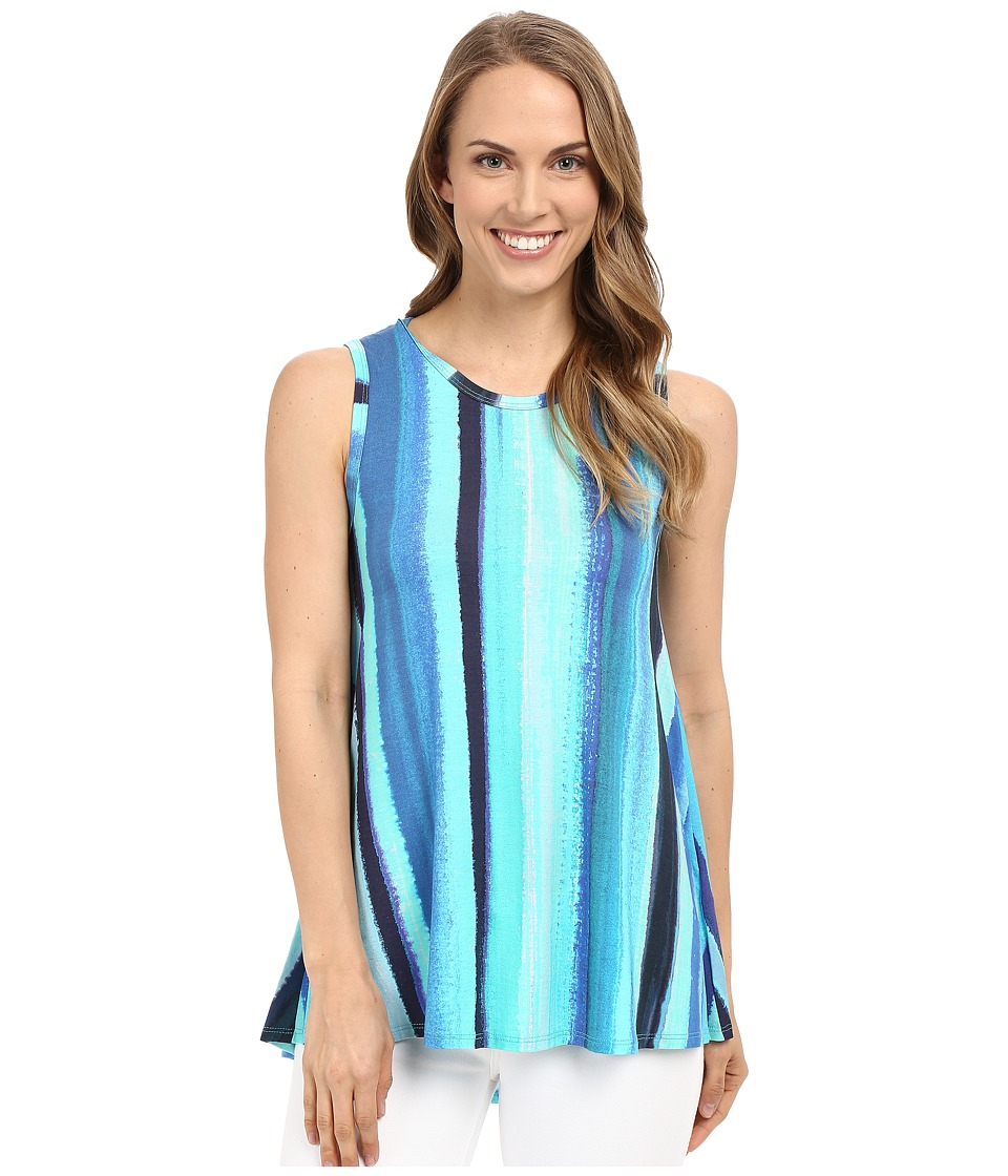 Karen Kane - Aquamarine Stripe Tank Top (Print) Women's Sleeveless