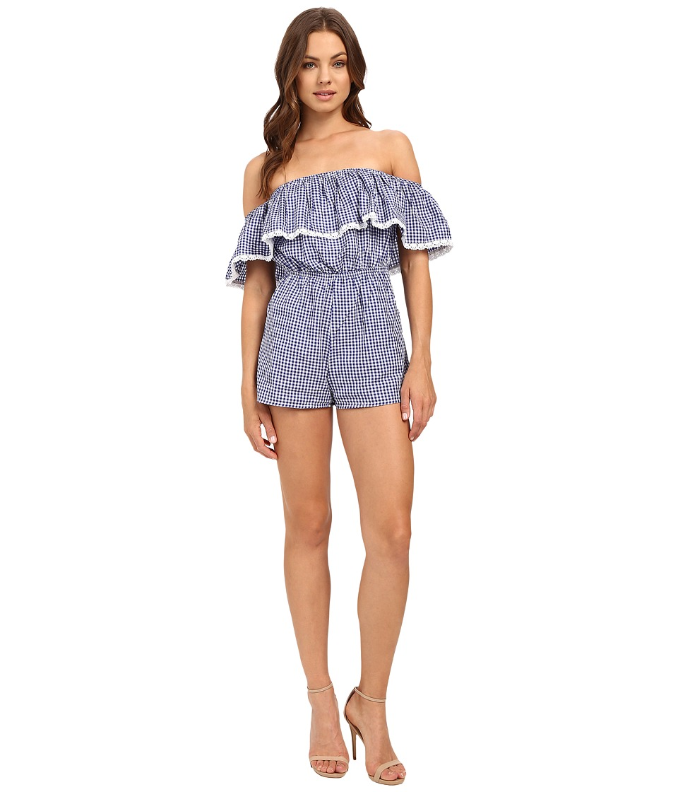 6 Shore Road by Pooja - Seaside Romper Cover-Up (Blue Gingham) Women's Jumpsuit & Rompers One Piece