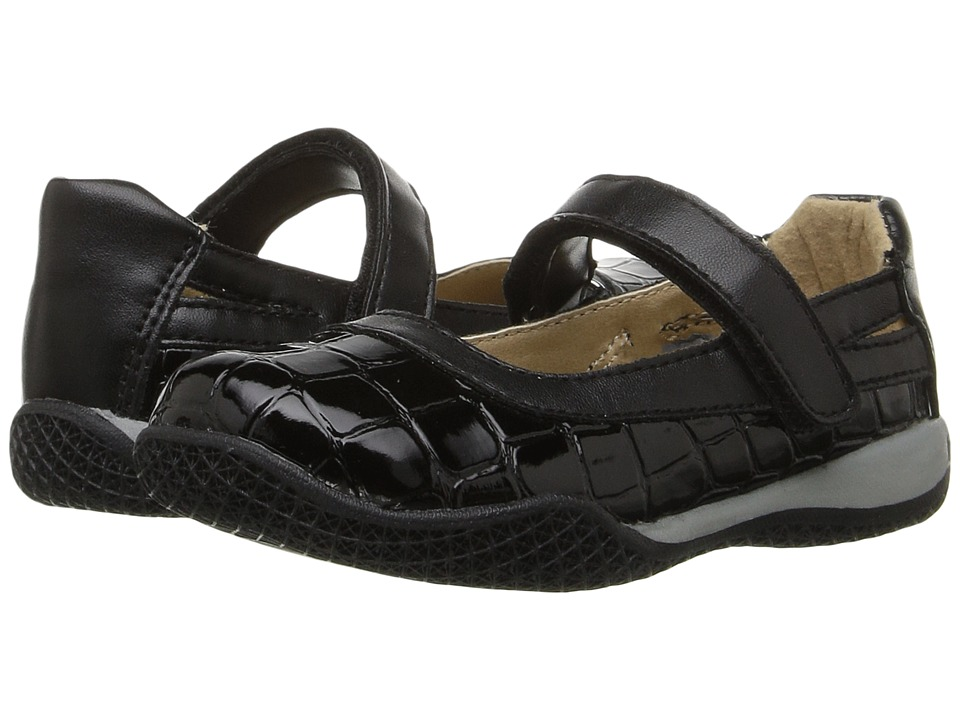 W6YZ - Connie (Toddler/Little Kid) (Black Croc Patent) Girls Shoes
