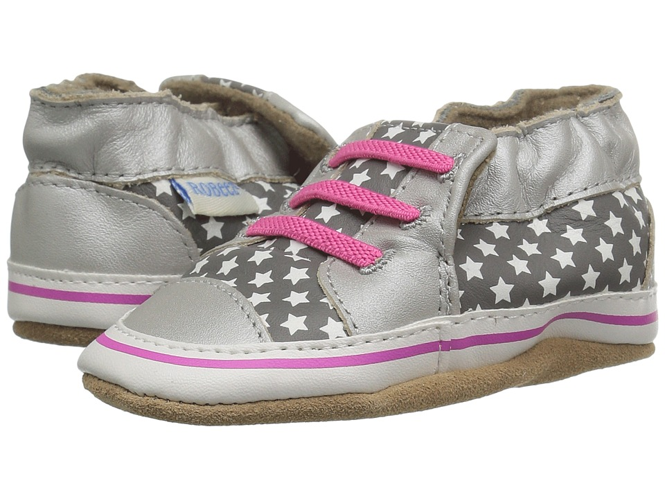 Robeez - Trendy Trainer Soft Sole (Infant/Toddler) (Silver) Girls Shoes