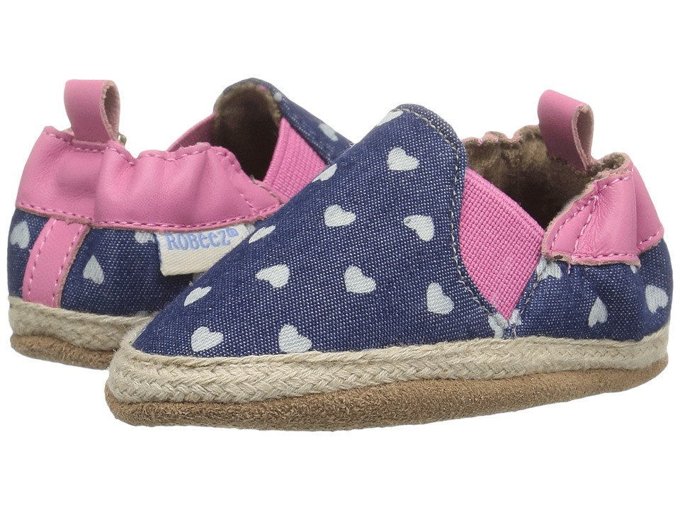 Robeez - Heart Mania Soft Sole (Infant/Toddler) (Grey) Girls Shoes