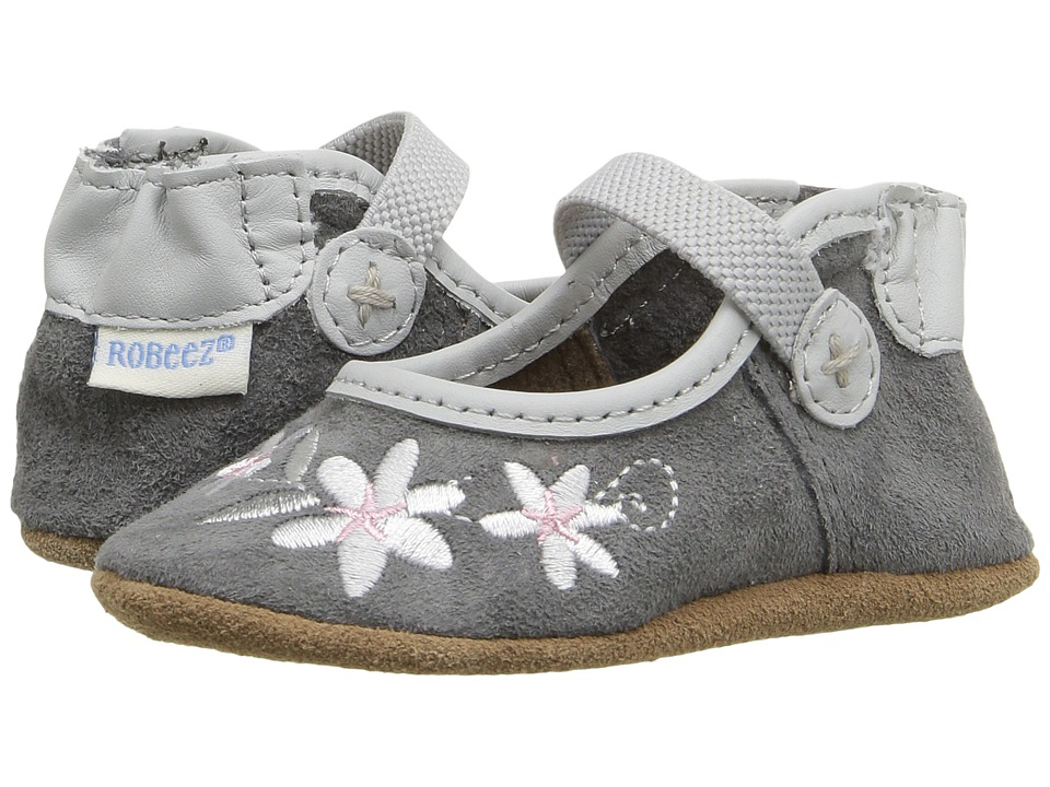 Robeez - Cool Water Mary Jane Soft Sole (Infant/Toddler) (Grey) Girls Shoes
