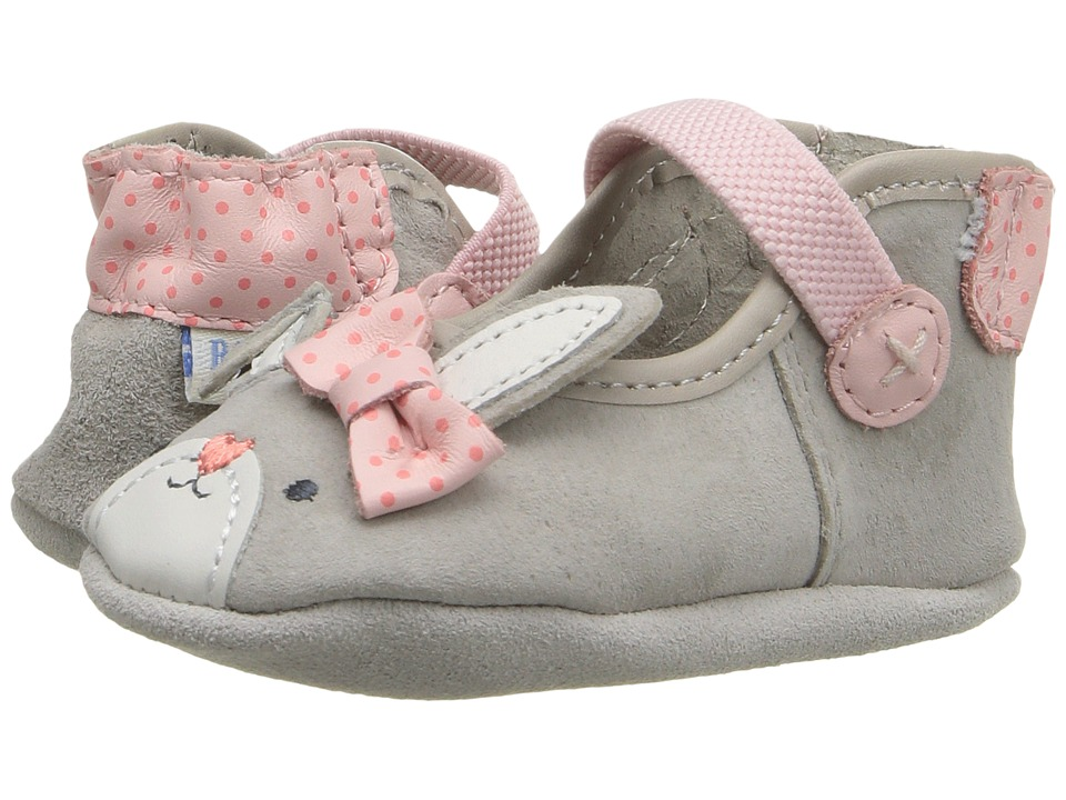 Robeez - Bunny Face Mary Jane Soft Sole (Infant/Toddler) (Grey) Girls Shoes