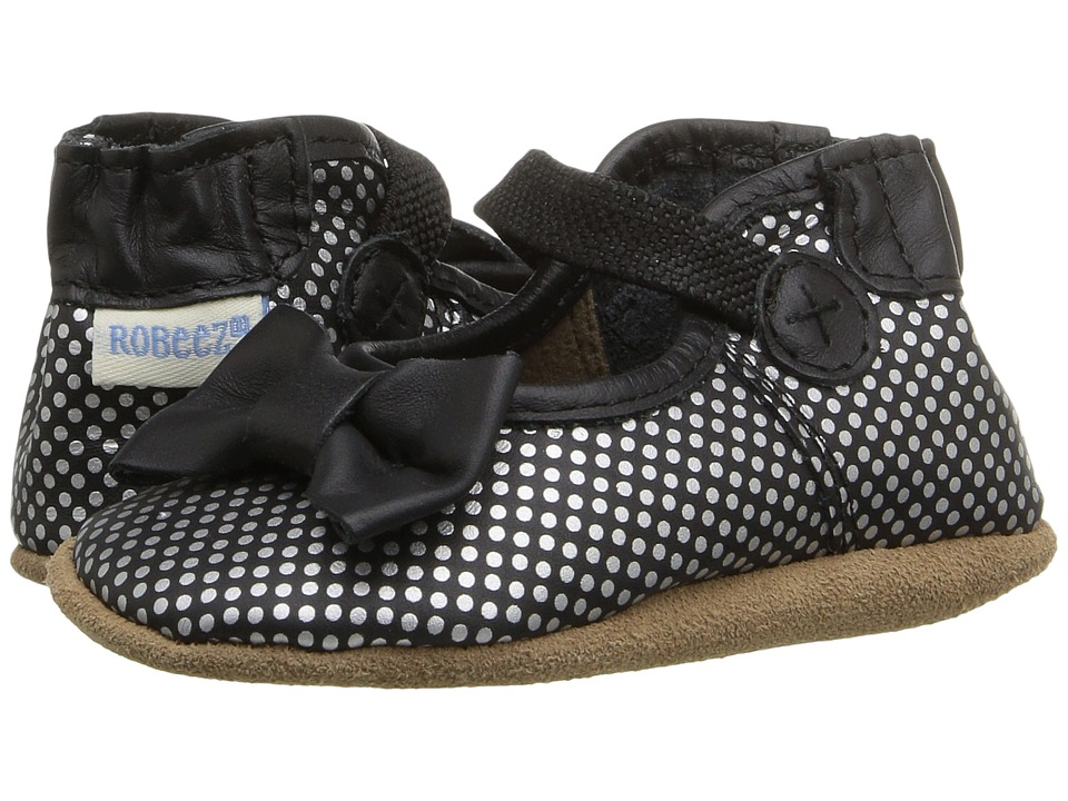 Robeez - Spotted Shannon Mary Jane Soft Sole (Infant/Toddler) (Black) Girls Shoes