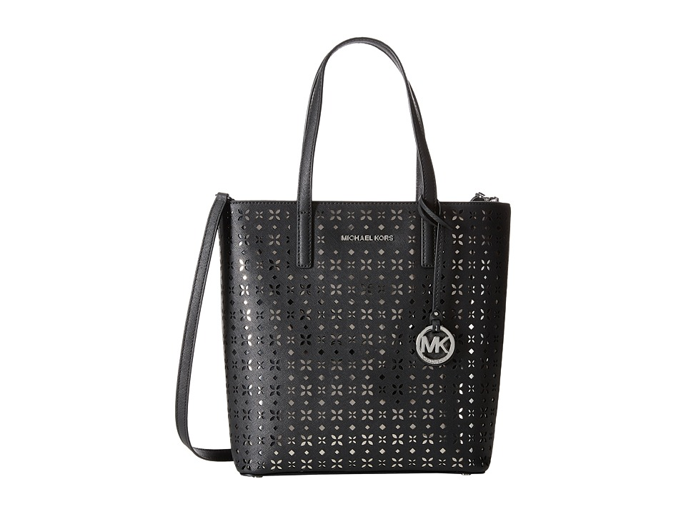 MICHAEL Michael Kors - Hayley Medium North/South Top Zip Tote (Black/Nickel) Tote Handbags