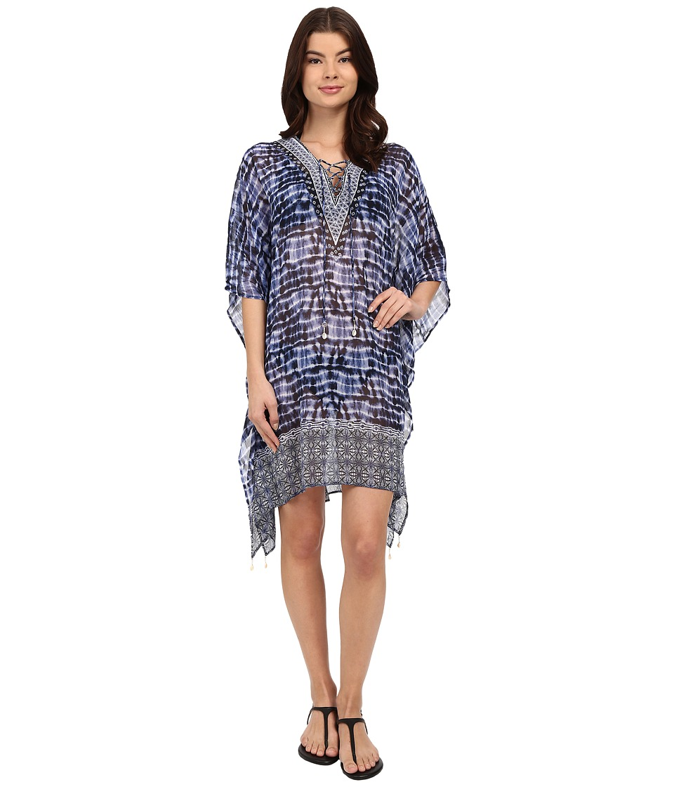 Bleu Rod Beattie - I've Got You Babe Caftan Cover-Up (Indigo) Women's Swimwear