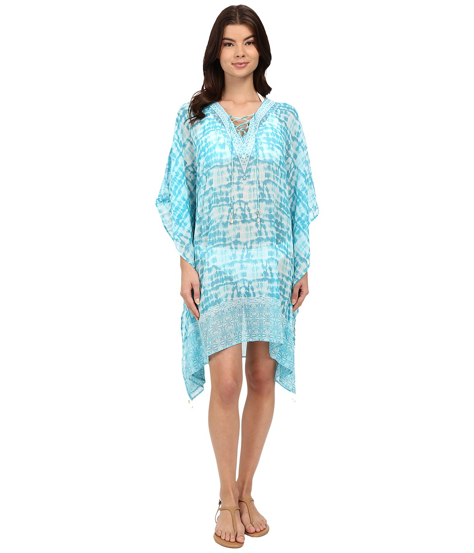 Bleu Rod Beattie - I've Got You Babe Caftan Cover-Up (Island Blue) Women's Swimwear