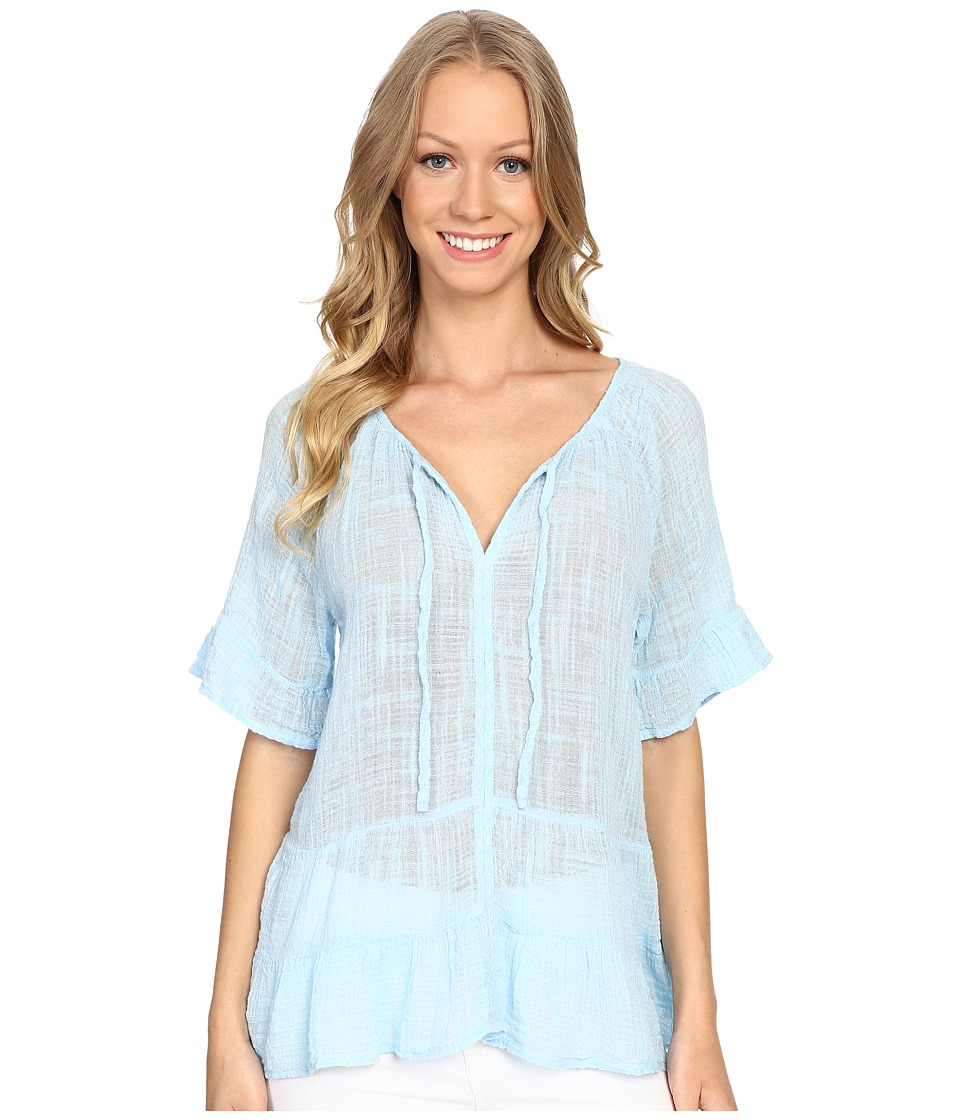 Dylan by True Grit - Caravan Cotton and Rayon Ruffle Tunic Top (China Blue) Women's Blouse