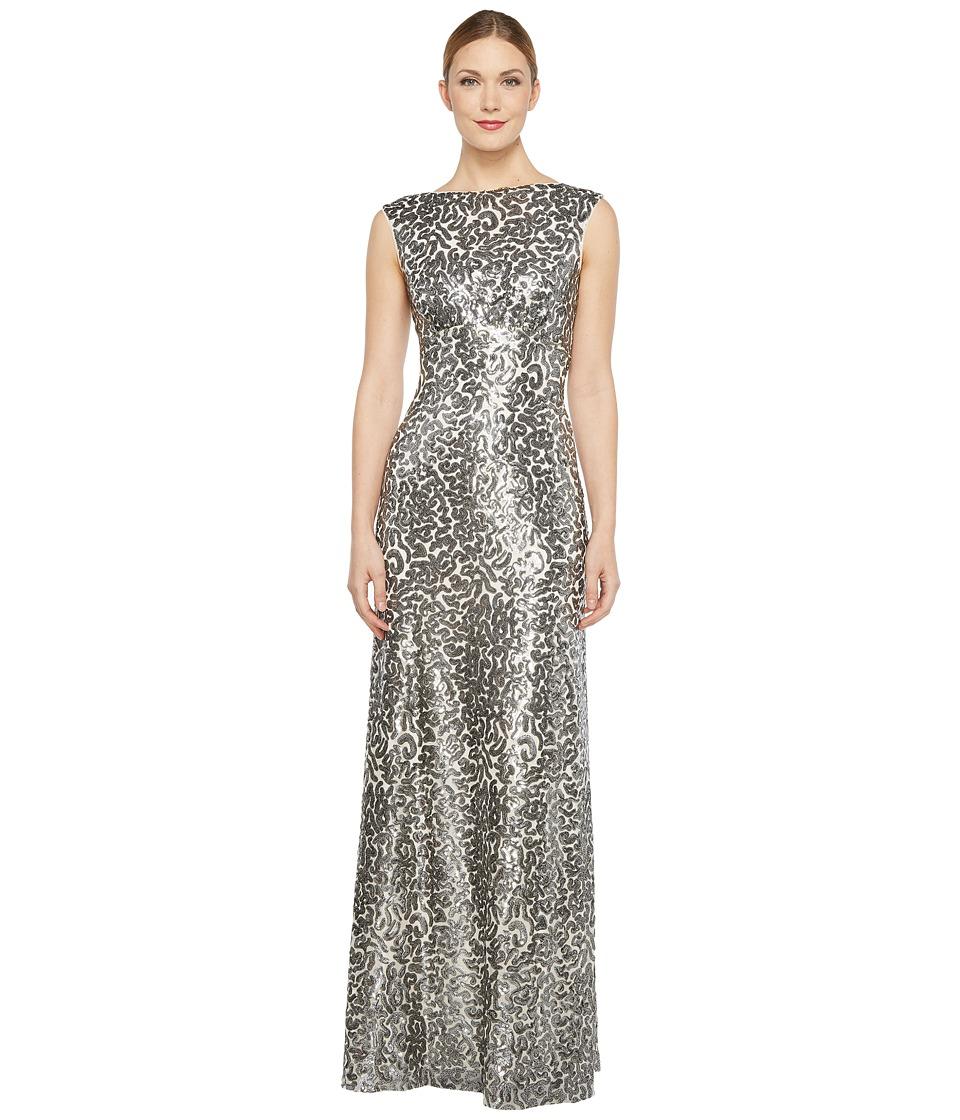 Donna Morgan - Boat Neck Empire Waist Sequin (Silver) Women's Dress