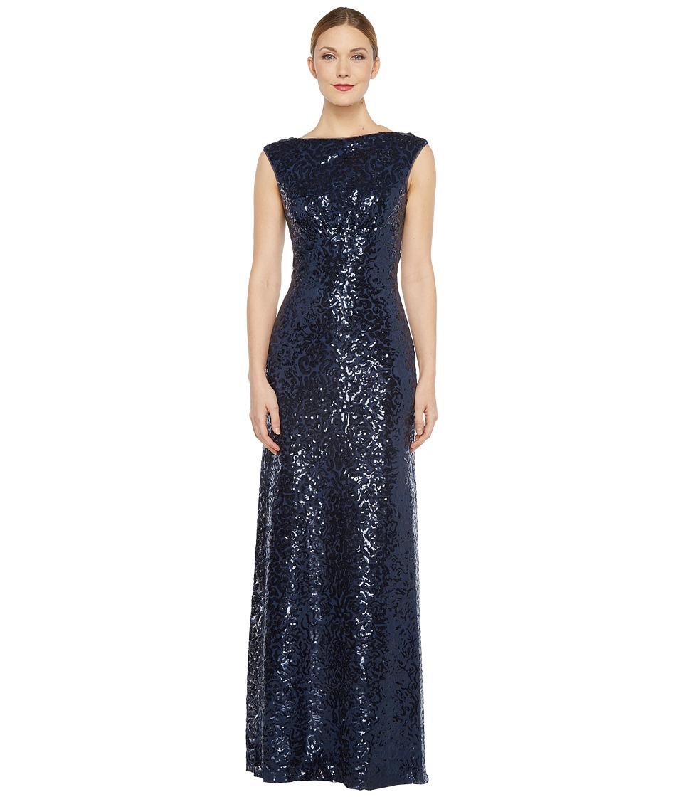 Donna Morgan - Boat Neck Empire Waist Sequin (Midnight) Women's Dress