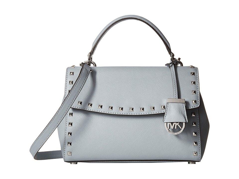 MICHAEL Michael Kors - Ava Stud Small Top-Handle Satchel (Dusty Blue) Satchel Handbags