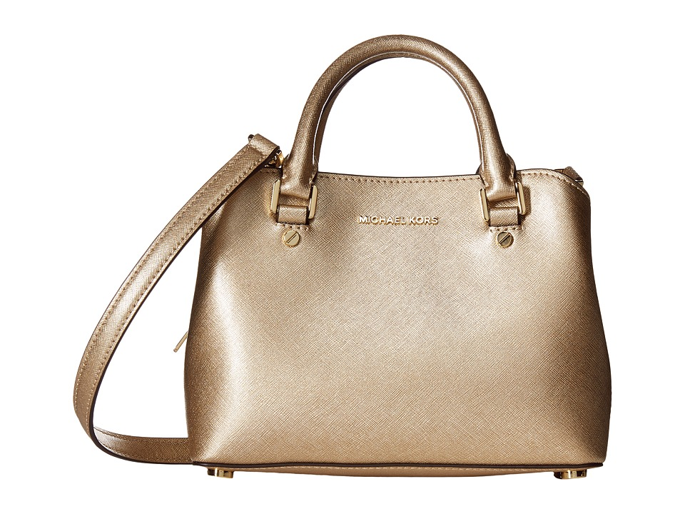 MICHAEL Michael Kors - Savannah Small Satchel (Pale Gold) Satchel Handbags