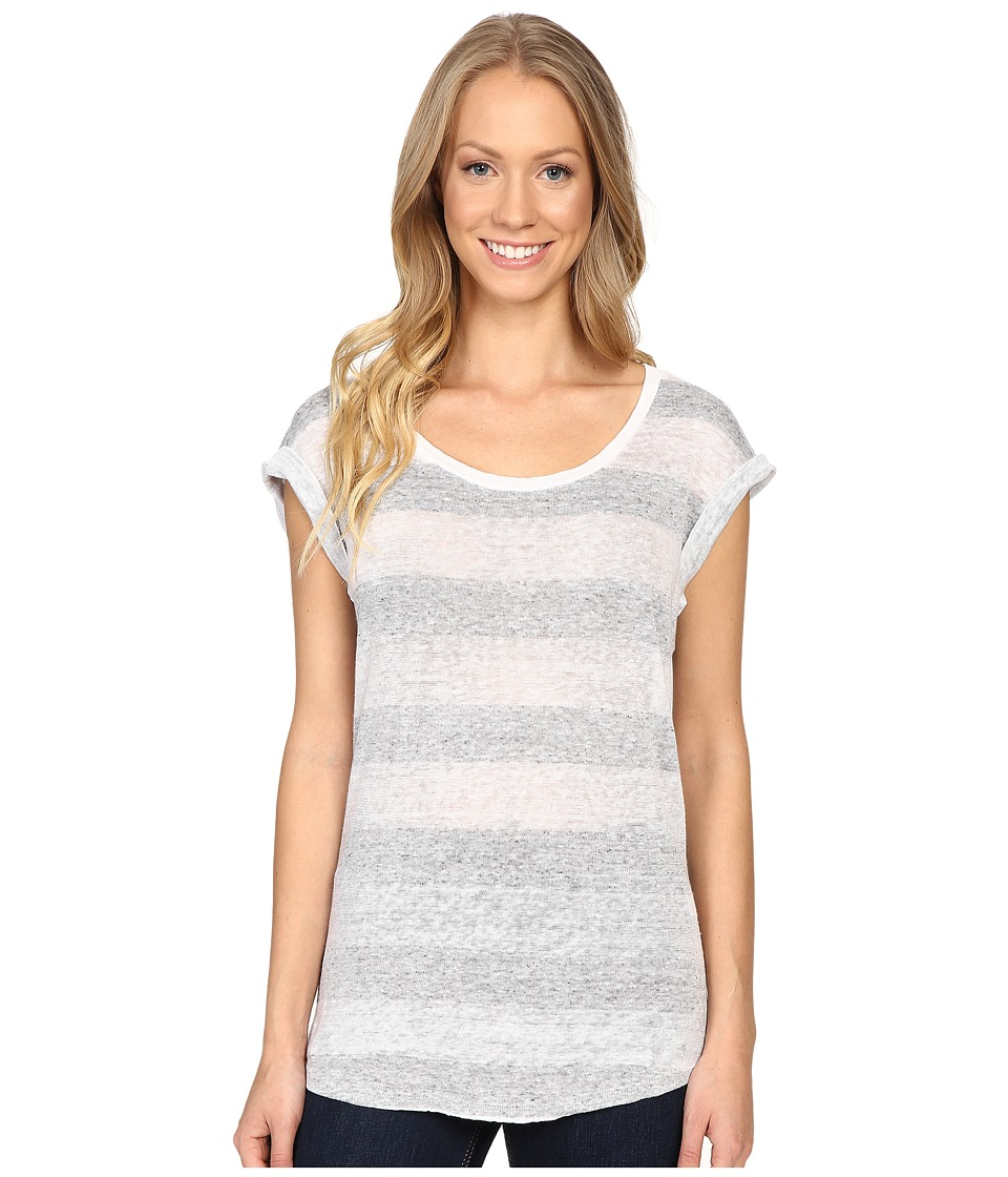 Dylan by True Grit - Pale Hue Stripes Linen and Cotton Slouchy Knit Tee (White) Women's T Shirt