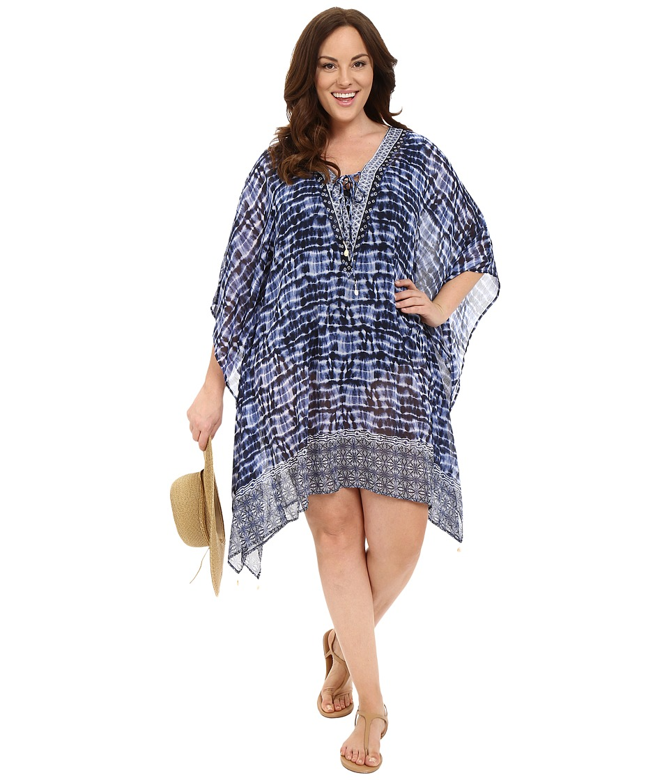 Bleu Rod Beattie - Plus Size I've Got You Babe Caftan Cover-Up (Indigo) Women's Swimwear
