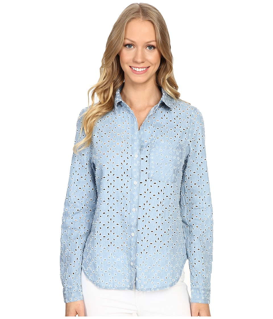 Dylan by True Grit - Peekaboo Chambray Stonewashed Denim Long Sleeve One-Pocket Shirt (Faded Denim) Women's Clothing