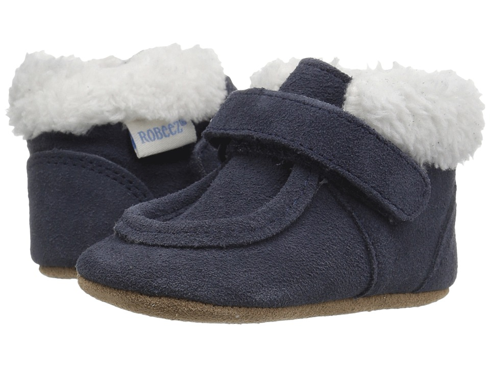 Robeez - Sawyer Snuggle Bootie Soft Sole (Infant/Toddler) (Navy) Boys Shoes