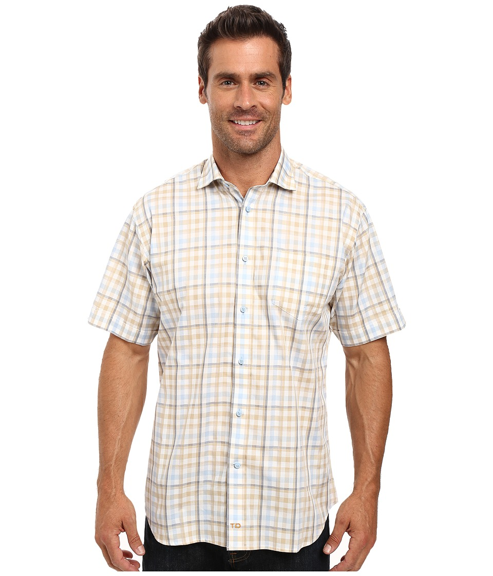 Thomas Dean & Co. - Short Sleeve Woven Shadow Multi Check (Khaki) Men's Clothing