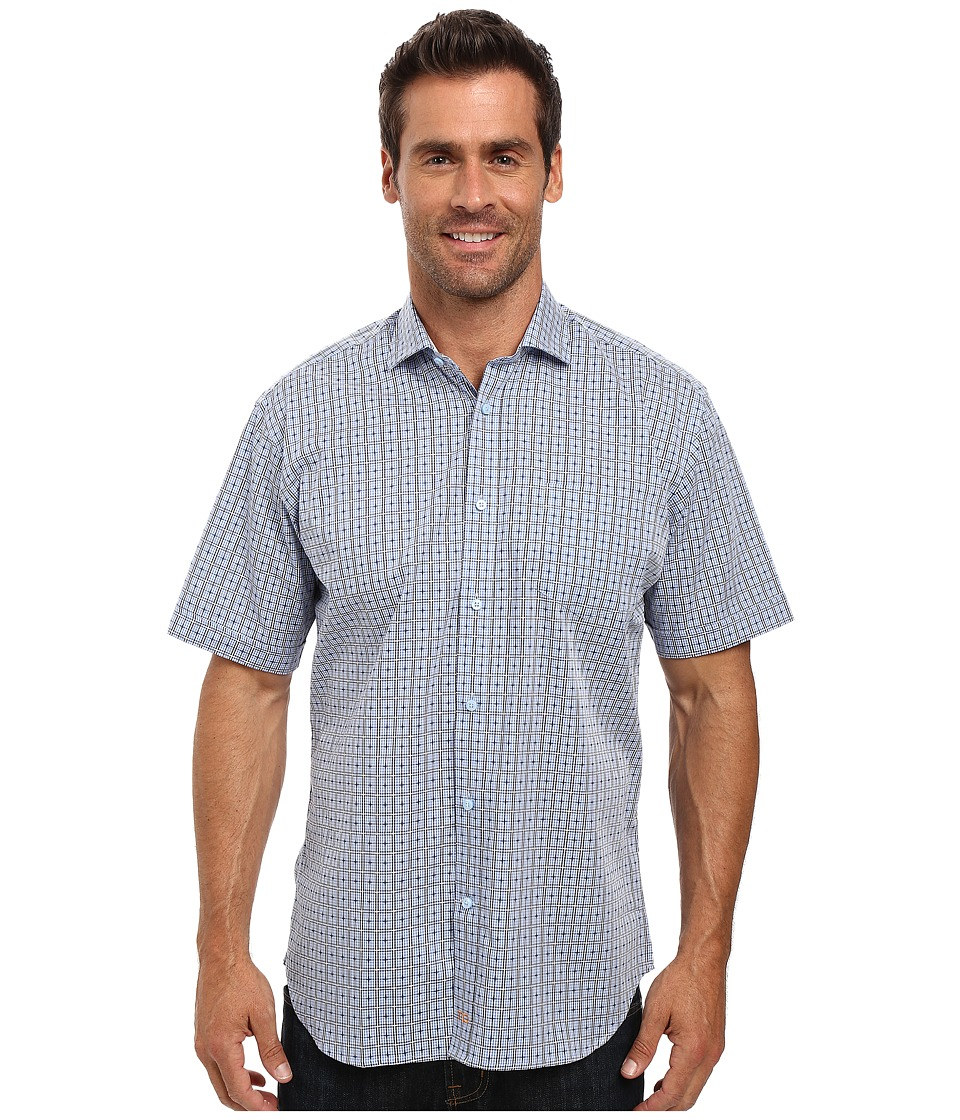 Thomas Dean & Co. - Short Sleeve Woven Dobby Check (Blue) Men's Clothing