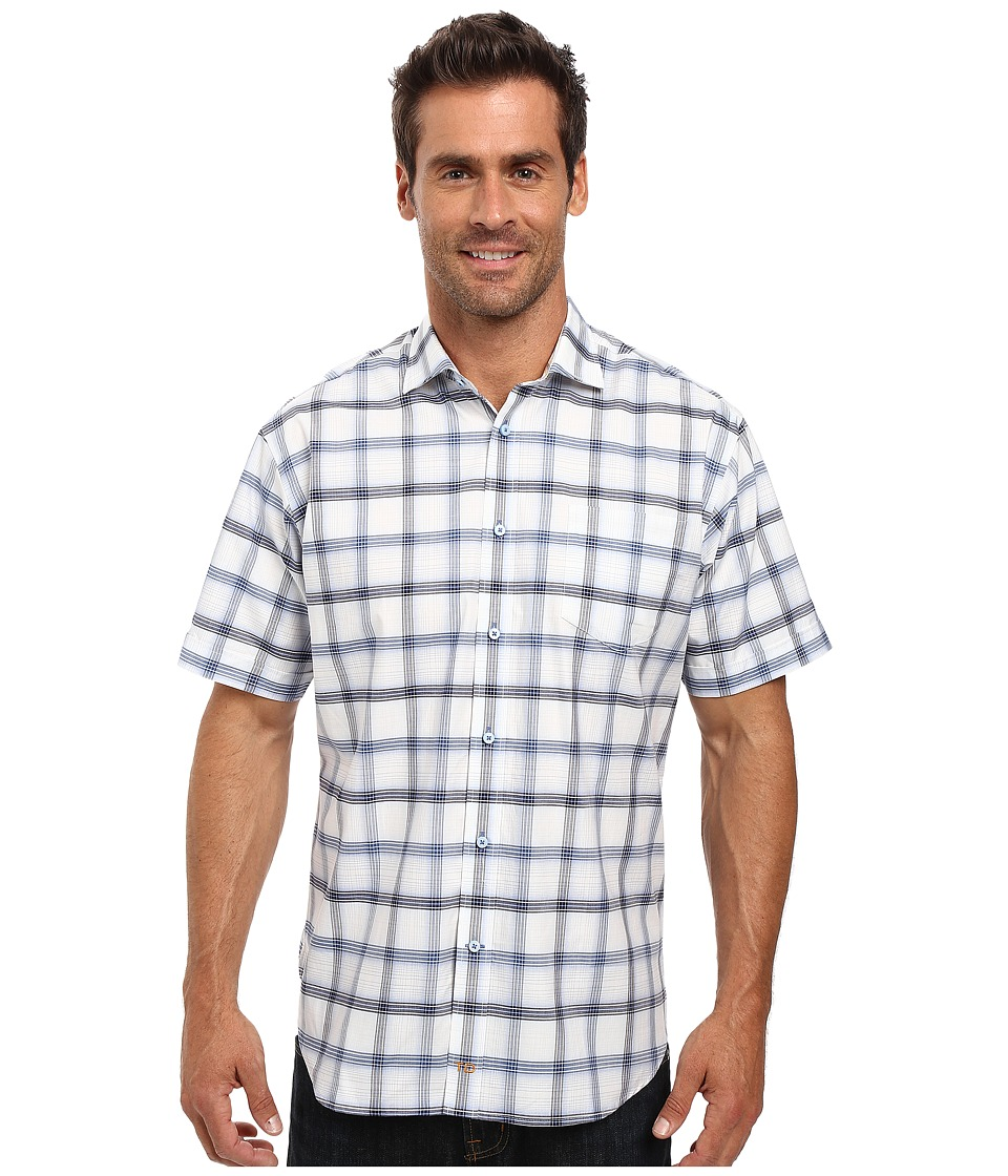Thomas Dean & Co. - Short Sleeve Woven Windowpane Plaid (Blue) Men's Clothing