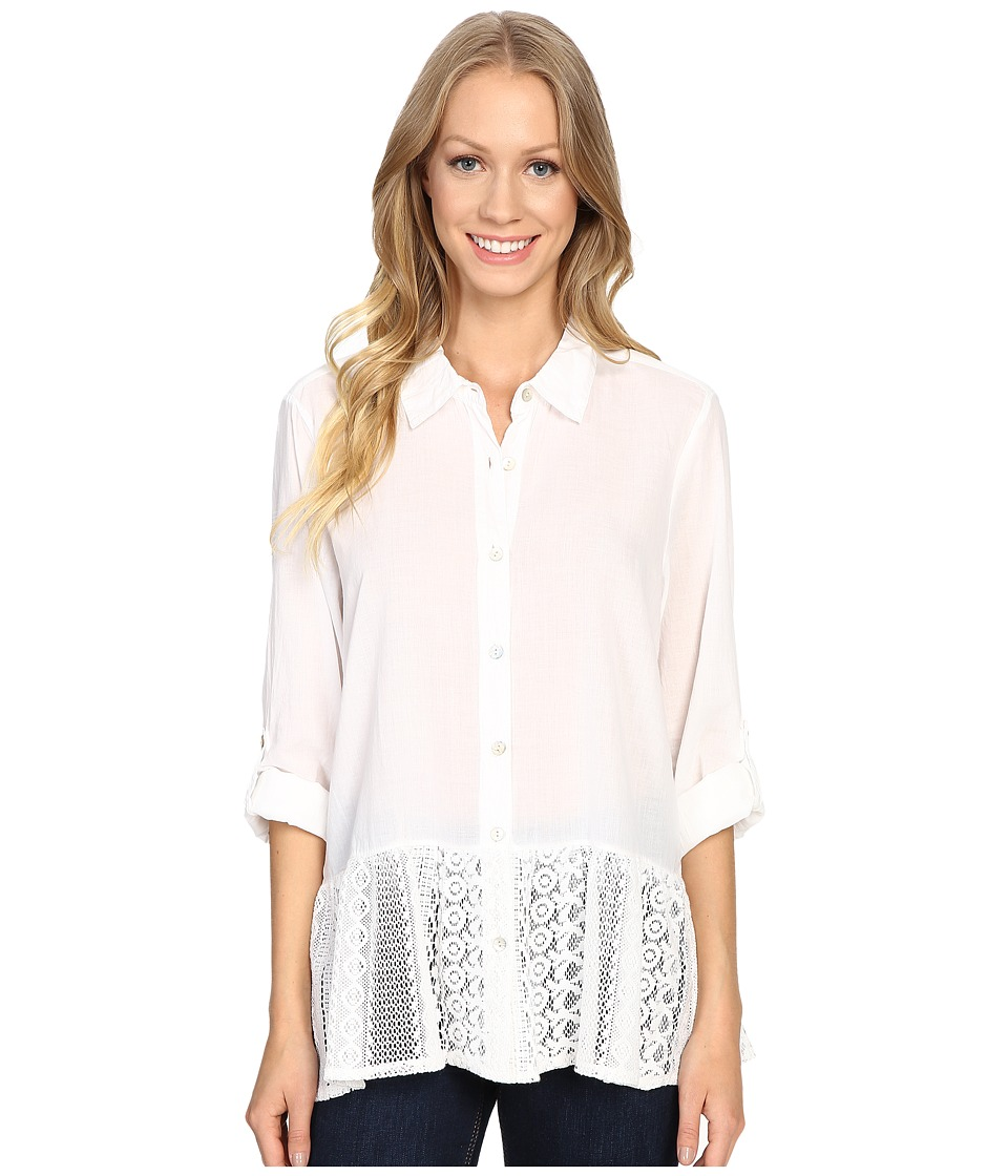 Dylan by True Grit - Washed Vintage Cotton Mia Blouse with Lace Hem (White) Women's Blouse