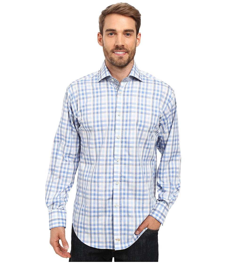 Thomas Dean & Co. - Long Sleeve Woven Shadow Multi Check (Blue) Men's Long Sleeve Button Up