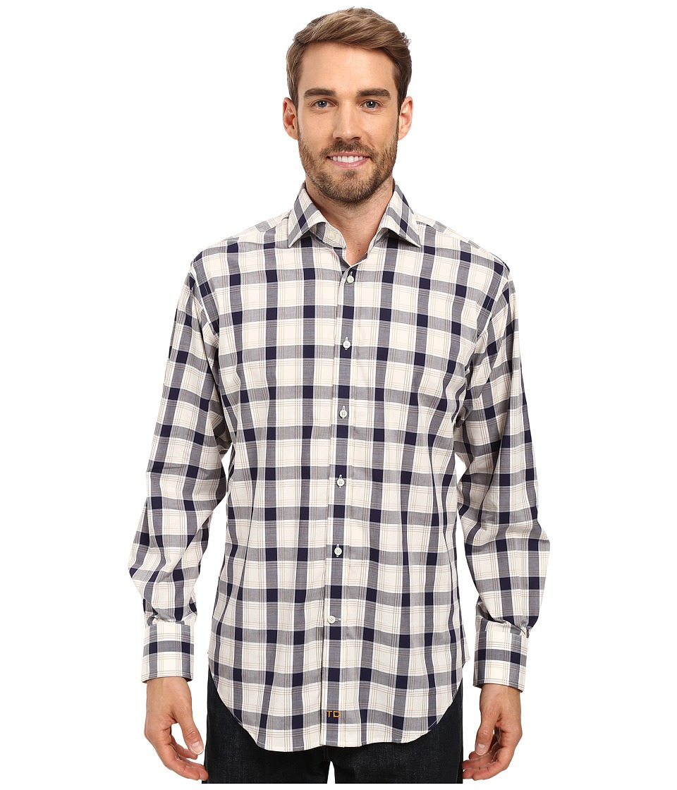Thomas Dean & Co. - Long Sleeve Woven Jacquard Plaid (Khaki) Men's Long Sleeve Button Up