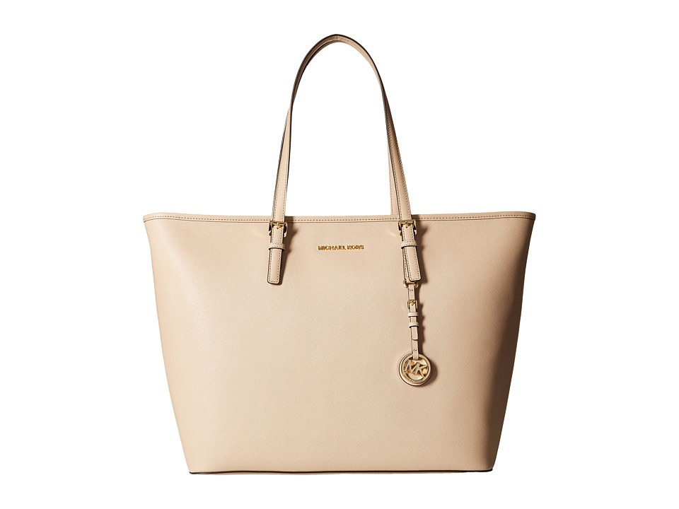 MICHAEL Michael Kors - Jet Set Travel Extra Large Top Zip Multifunction Tote (Bisque) Tote Handbags