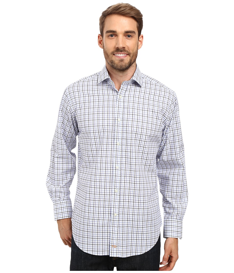 Thomas Dean & Co. - Long Sleeve Woven Check with Fil Coupe (Blue) Men's Long Sleeve Button Up