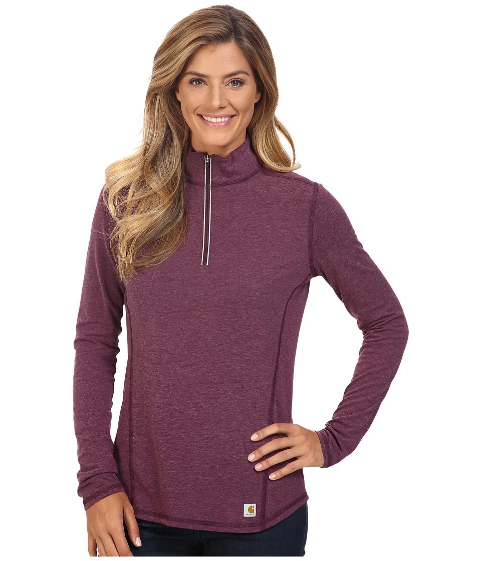 Carhartt - Force Quarter Zip Shirt (Potent Purple Heather) Women's Long Sleeve Pullover