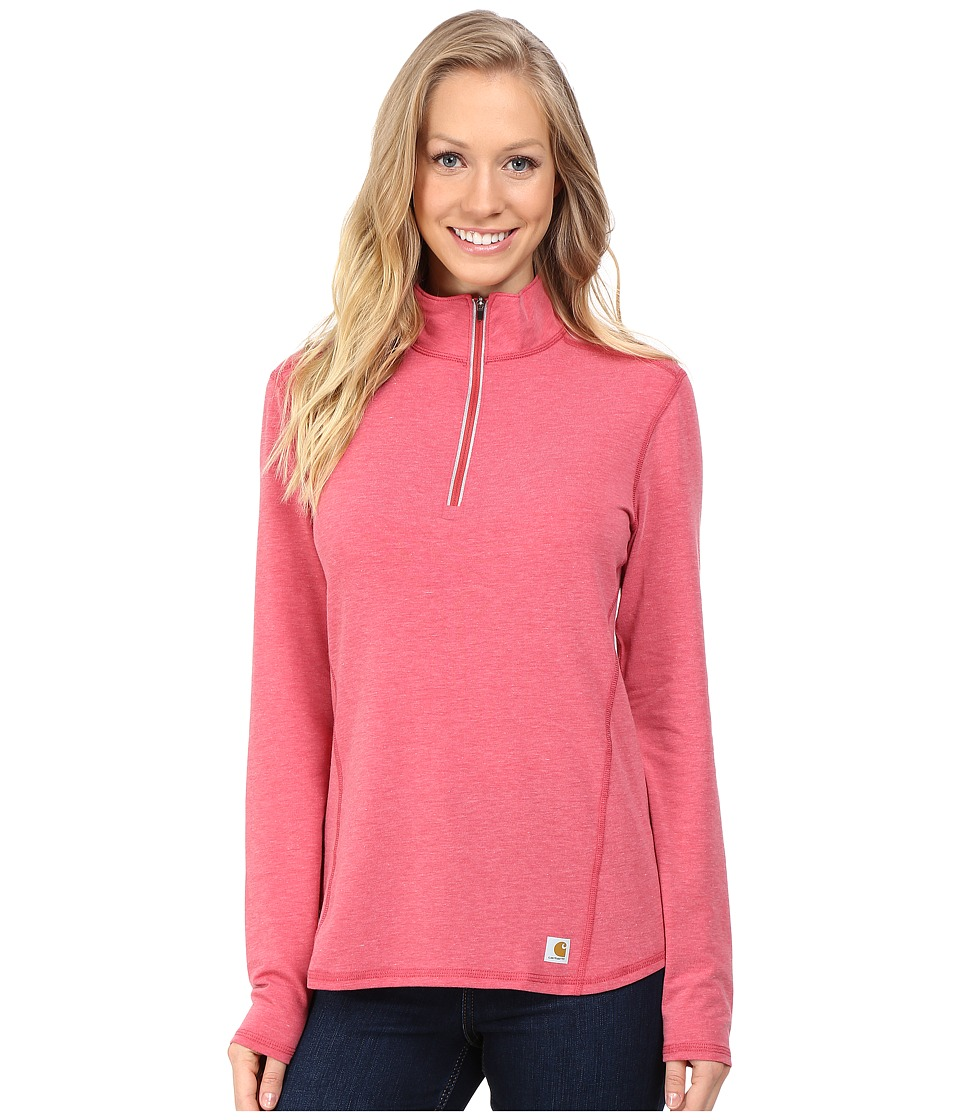 Carhartt - Force Quarter Zip Shirt (Wild Rose Heather) Women's Long Sleeve Pullover