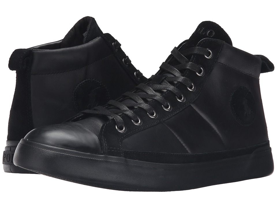 Polo Ralph Lauren - Clarke (Black Smooth Oil Leather/Sport Suede) Men's Lace up casual Shoes