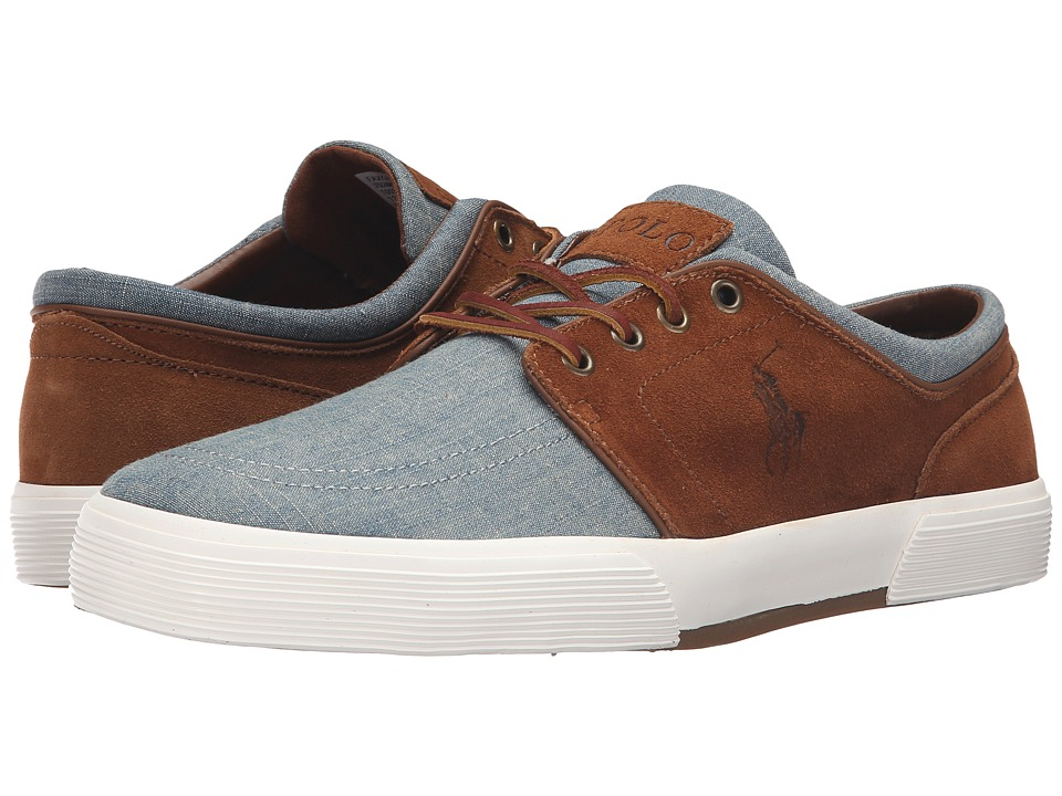 Polo Ralph Lauren - Faxon Low (Blue/Snuff Chambray/Sport Suede) Men's Lace up casual Shoes