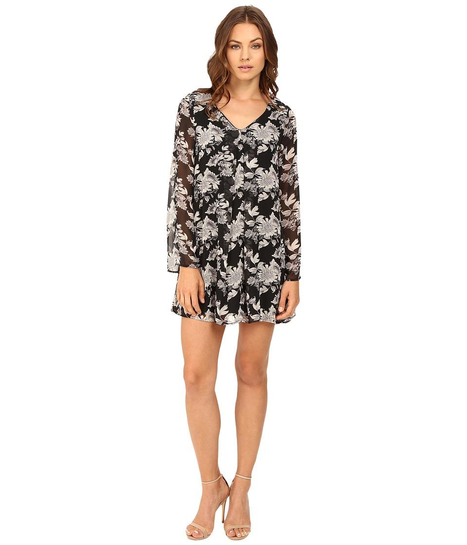 Brigitte Bailey - Delia Long Sleeve Floral Dress (Black) Women's Dress