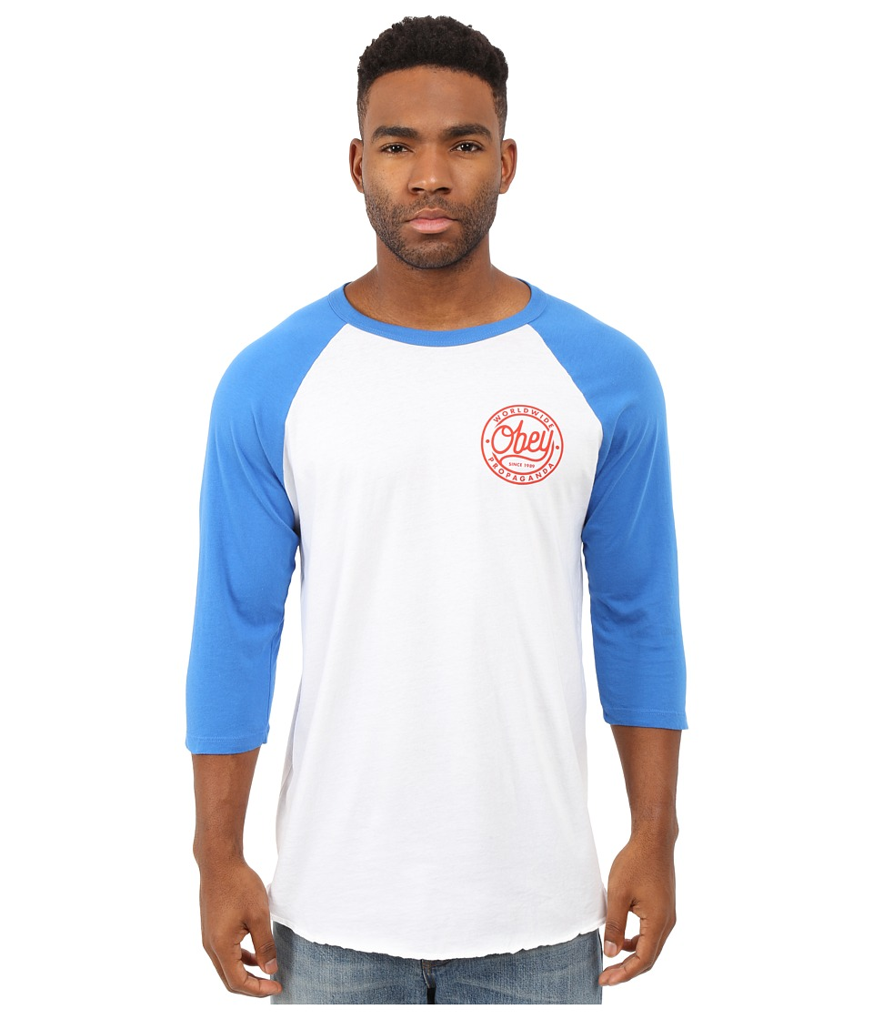 Obey - Since 1989 Premium Raglan (White/Light Blue) Men's Clothing