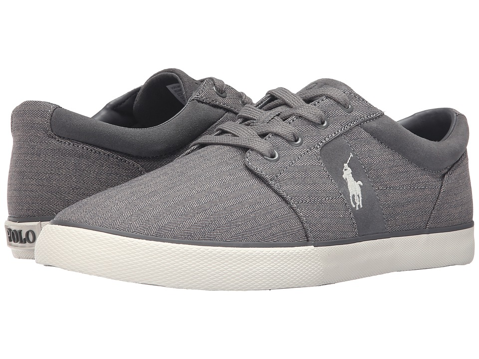 Polo Ralph Lauren Halmore II Grey Chambray Herringbone Sport Suede Mens  Shoes