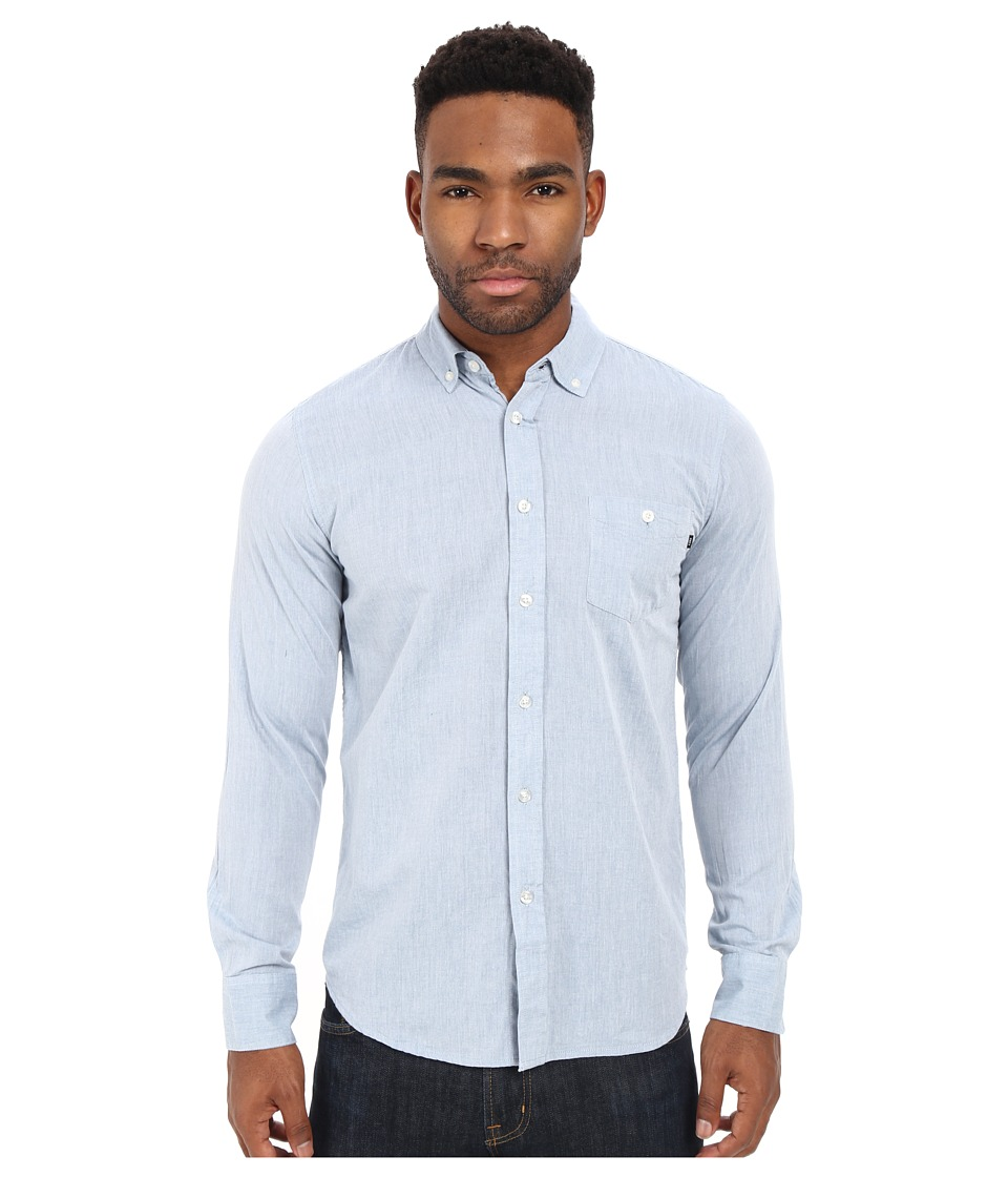 Obey - Capital Long Sleeve Woven Top (Blue) Men's Long Sleeve Button Up
