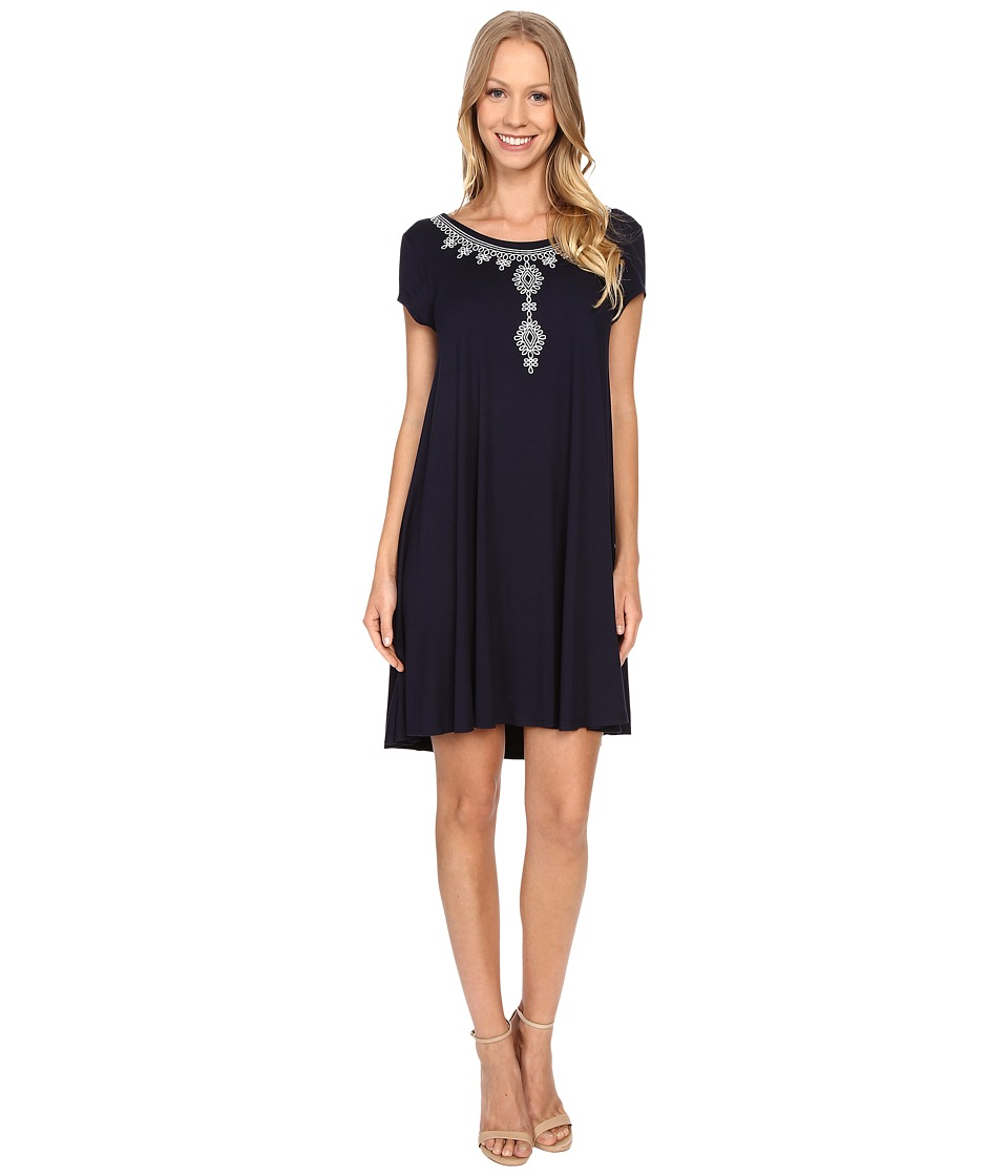 Karen Kane - Embroidered Maggie Trapeze Dress (Navy/White) Women's Dress