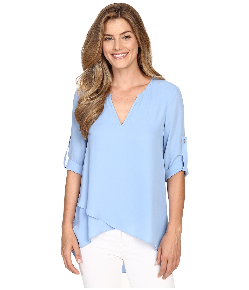 Karen Kane - Asymmetrical Hem Wrap Top (Blue) Women's Blouse