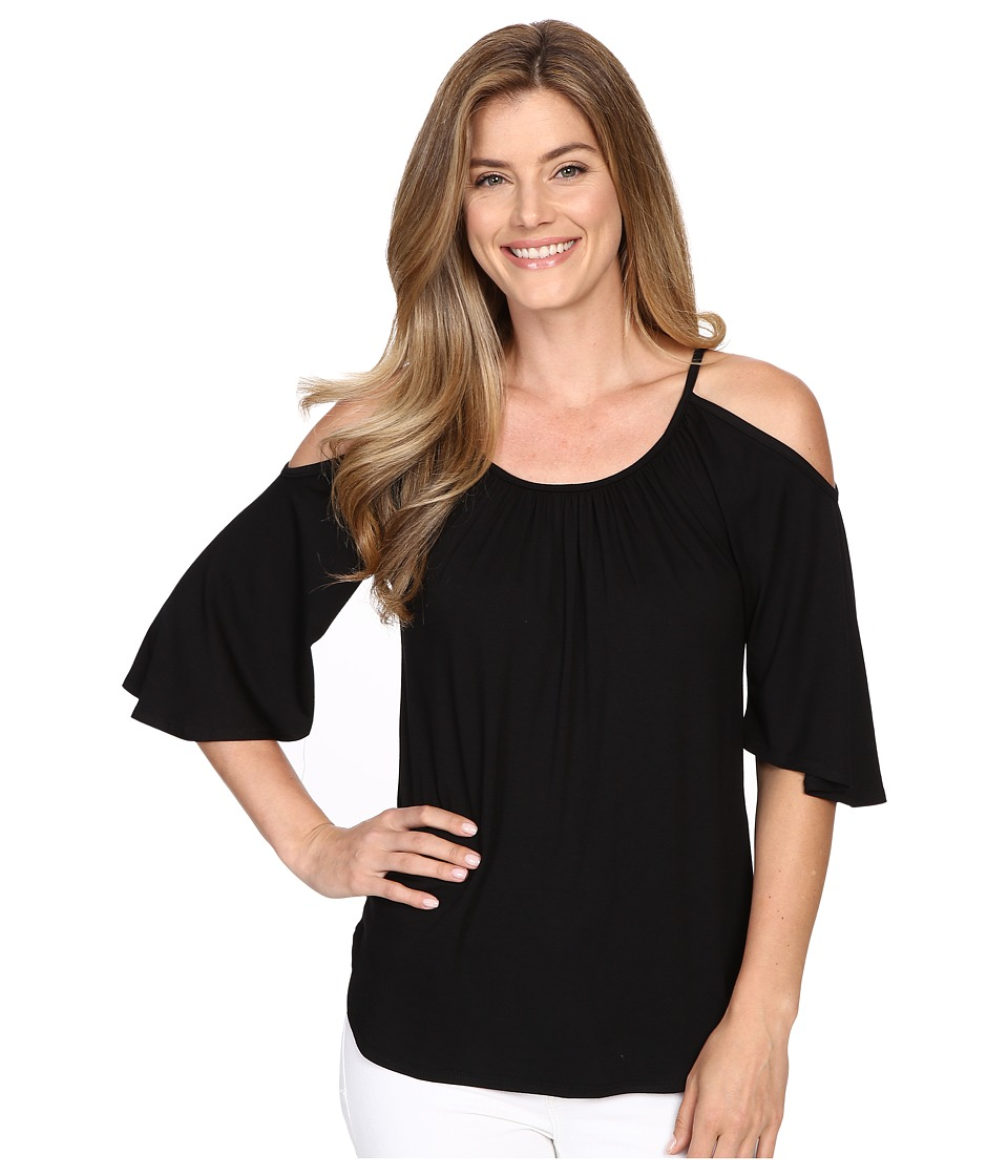 Karen Kane - Cold Shoulder Angel Top (Black) Women's Clothing