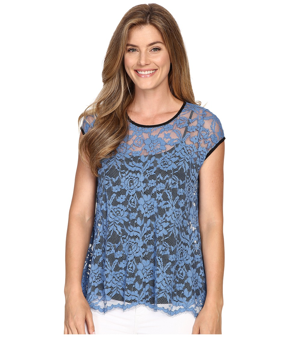 Karen Kane - Blue Lace Flare Top (Blue) Women's Blouse