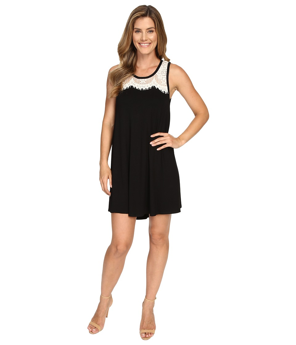 Karen Kane Lace Yoke Trapeze Dress (Black) Women