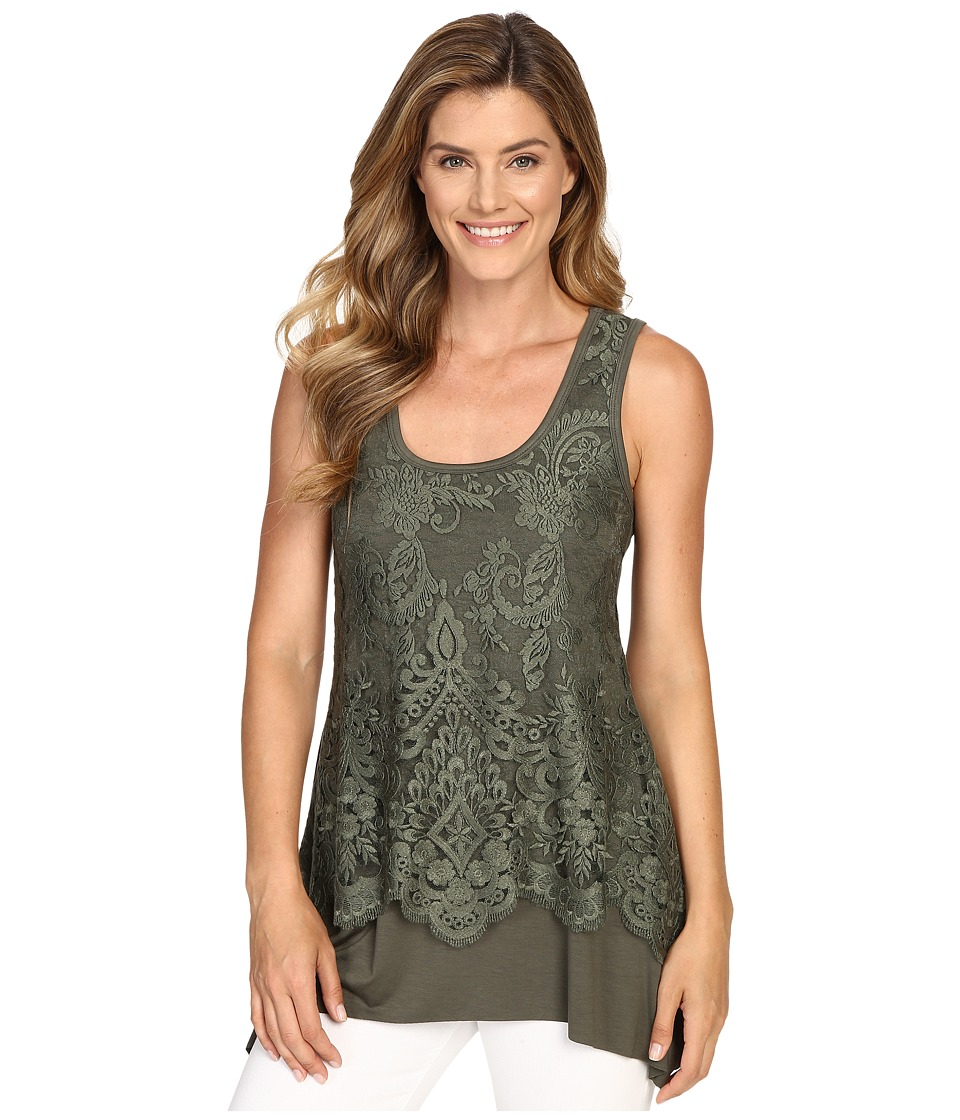 Karen Kane - Lace Overlay Handkerchief Tank Top (Olive) Women's Sleeveless